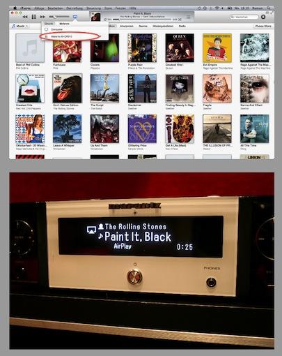 """AirPlay via PC/Mac - Der gleiche Vorgang wie im Smartphone: AirPlay-Symbol anklicken und anschließend """"Marantz M-CR510"""" anwählen. Schon kann die eigene Playlist bequem und kabellos an den Melody Stream geleitet werden."""