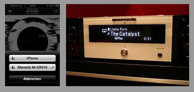 """AirPlay via iPhone: Dazu wird einfach das kleine AirPlay-Symbol und anschließend """"Melody Stream M-CR510"""" am Handy ausgewählt. Anschließend können sämtliche auf dem Smartphone befindliche Songs mit einem Fingertip angespielt werden."""