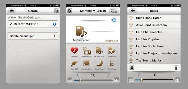 Zum M-CR510 bietet Marantz je eine passende App für iOS- und Android-Smartphones und Tablets in den jeweiligen Stores an - sogar kostenlos.