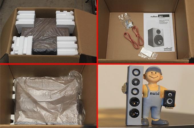 """Die nuBox 381 ist sicher und sauber verpackt. Neben einem Pärchen Lautsprecherkabel legt der Hersteller jedem Pärchen 381 auch noch einen """"nubi"""" bei."""