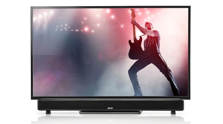 kino sound f r flachbildfernseher mit denons tv lautsprecher dht s514 lite das lifestyle. Black Bedroom Furniture Sets. Home Design Ideas