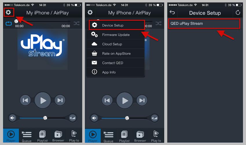 """Installation via App: Zunächst werden die Einstellungen aufgerufen (Bild 1), anschliessend der Menüpunkt """"Device Setup"""" gewählt (Bild 2) und das vorhandene Gerät ausgewählt (Bild 3)."""