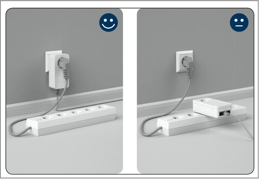 Wenn möglich, vermeiden Sie zudem, dass Powerline-Adapter an Mehrfachsteckdosen betrieben werden. Andersrum lassen sich Netzleisten aber natürlich in den Steckplatz des Devolo-Adapters stecken.