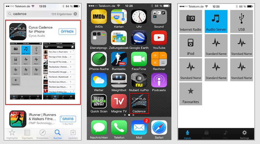 Cadence: Die übersichtlich gestaltete Steuer-App ist kostenlos im Android- und Apple-Store erhältlich. mit einem Knopfdruck aufgerufen, offeriert sie dem Nutzer das Tor in eine schier unendliche Quellvielfalt.
