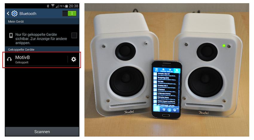 Und schon kann's losgehen: Einfach Motiv B per Bluetooth zum Beispiel mit dem Smartphone koppeln und die eigenen Playlists können abgespielt werden.