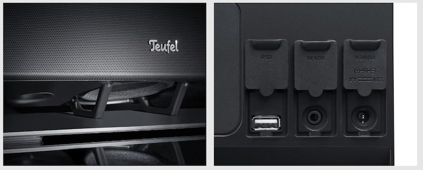Links: Subwoofer und Bassreflexöffnung strahlen nach unten. Rechts: Das Anschlussfeld des Boomster. Neben eines USB-Ports, das ausschliesslich Ladestrom für Handys und Tabletts ausgibt, findet sich hier ein AUX-Eingang, sowie der Anschluss für die Stromversorgung.