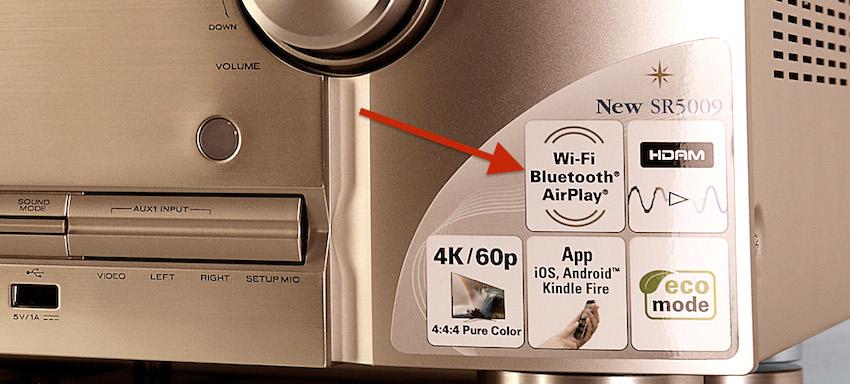 Wireless-Audio? Kein Problem für den SR5009. Neben der Audioübertragung über WLAN empfängt der schicke Japaner auch Signale via Bluetooth.