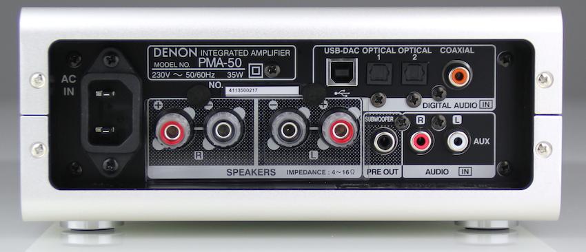 Trotz einer Gehäusebreite von gerade einmal 20 Zentimetern bietet der PMA-50 nahezu jeder Quelle Anschluss.