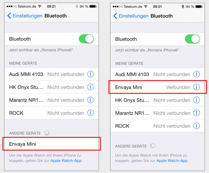 """Einfacher geht es kaum: Sobald der kleine Aktivlautsprecher sich als """"Envaya Mini"""" in der Liste verfügbarer Bluetooth-Geräte zu erkenn gibt, genügt ein einziger Tastendruck um die Verbindung herzustellen."""