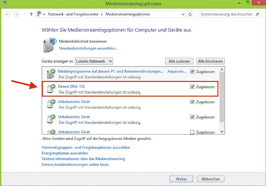 Lagert die Musiksammlung auf einem Windows-PC, genügt ein Häkchen im Menü, um dem Denon Zugriff auf die entsprechenden Dateien zu gewähren.