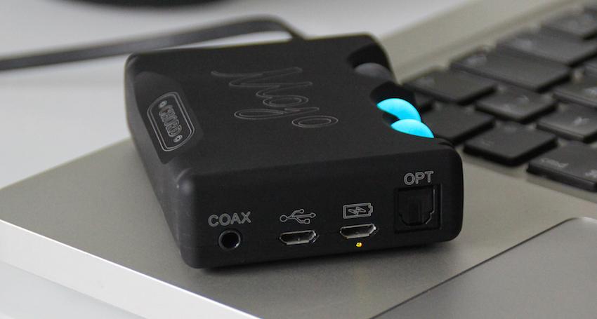 Die Eingangssektion: Der Mojo nimmt digitale Signale via USB, Koax- und Lichtleiterkabel entgegen.
