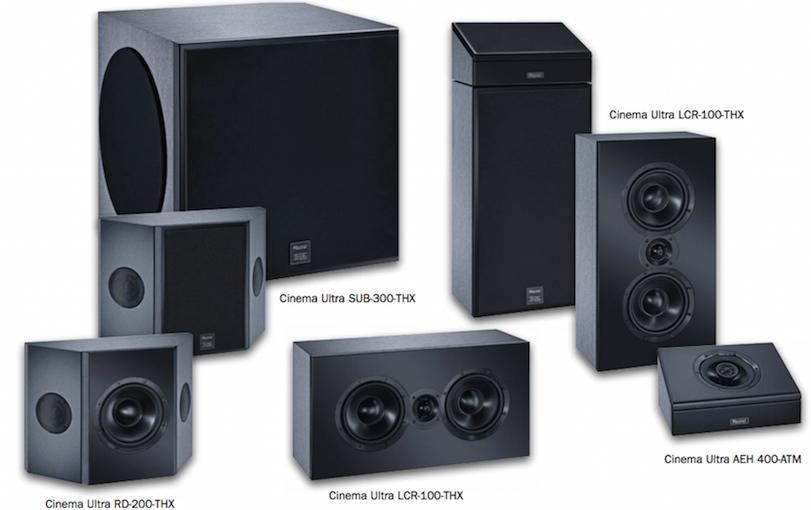 Das Cinema-Ultra-Set besteht in der kleinsten 5.1-Ausbaustufe aus einem Subwoofer, zwei Effekt- und drei Front-Lautsprechern. Für höhere Ansprüche und Raumgrößen lässt es sich beliebig erweitern.