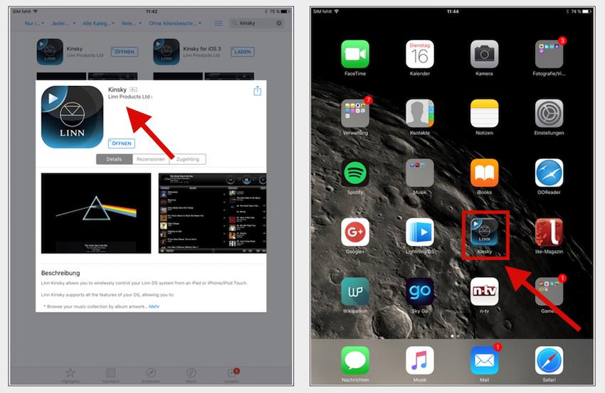 Um den N1A bedienen zu können, muss zunächst die Kinsky-App aufs Smartphone oder Tablet geladen werden.