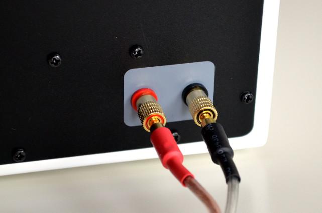 Die Passivbox wird per Lautsprecherkabel mit Bananensteckern an den Master gekoppelt.