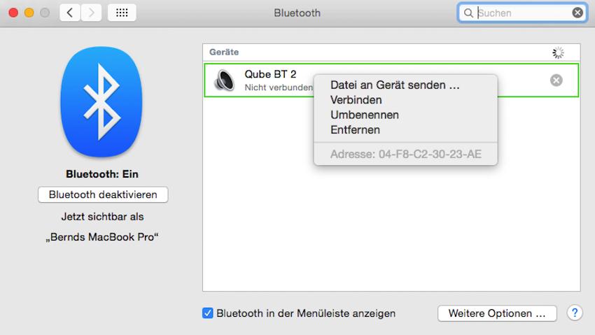 """Nachdem der WHD-Speaker mit Netzstrom versorgt ist, gibt er sich umgehend als """"Qube BT"""" in der Liste aller verfügbaren Bluetooth-Partner zu erkennen."""