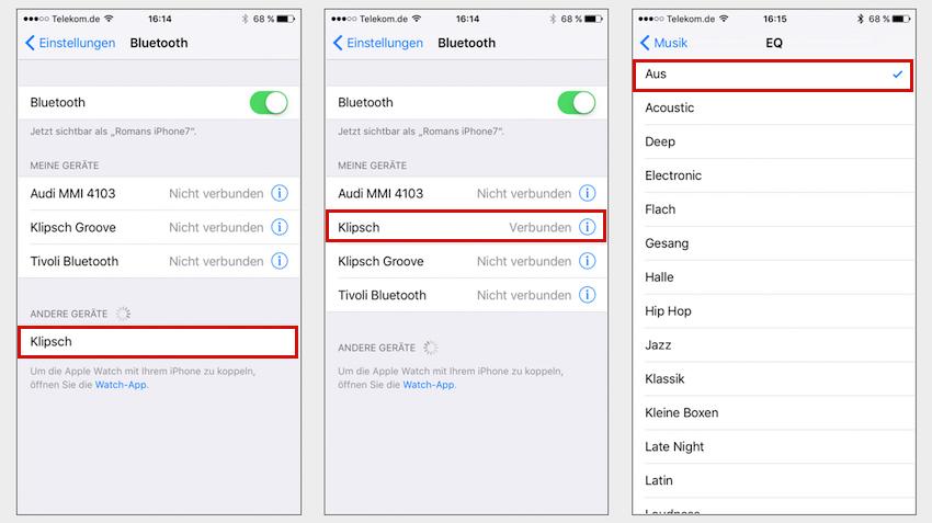 Der Verbindungsaufbau via Bluetooth ist in weniger als einer Minute erledigt. Somit ist die kabellose Musikzuspielung von Handy oder Tablet ein Kinderspiel.