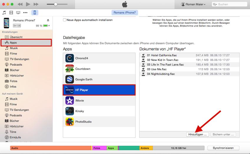 Gewohnter Anblick: hochaufgelöste Audiotracks lassen sich via iTunes auf den Onkyo HF Player bringen.