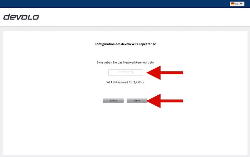 Schritt 6: Passwort  (für das eigene Netzwerk) eingeben und