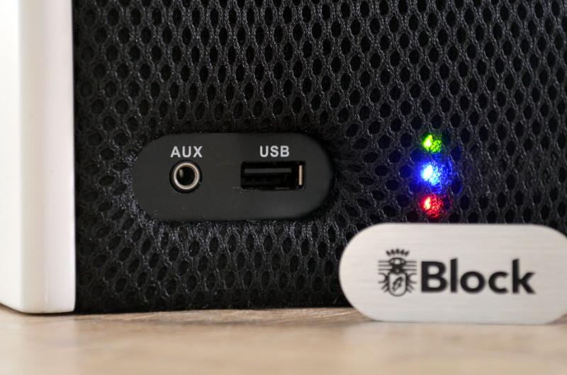 Das Plättchen mit Herstellerlogo lässt sich abnehmen und legt Aux-Eingang und USB-Port frei.