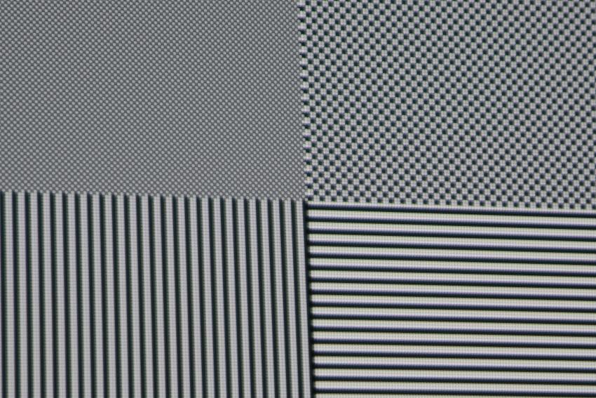 Unser Testbild offenbart eindeutig, dass der ViewSonic Pro7827HD alle Details bis in Full-HD-Pixelauflösung mit vollem Kontrast darstellt.