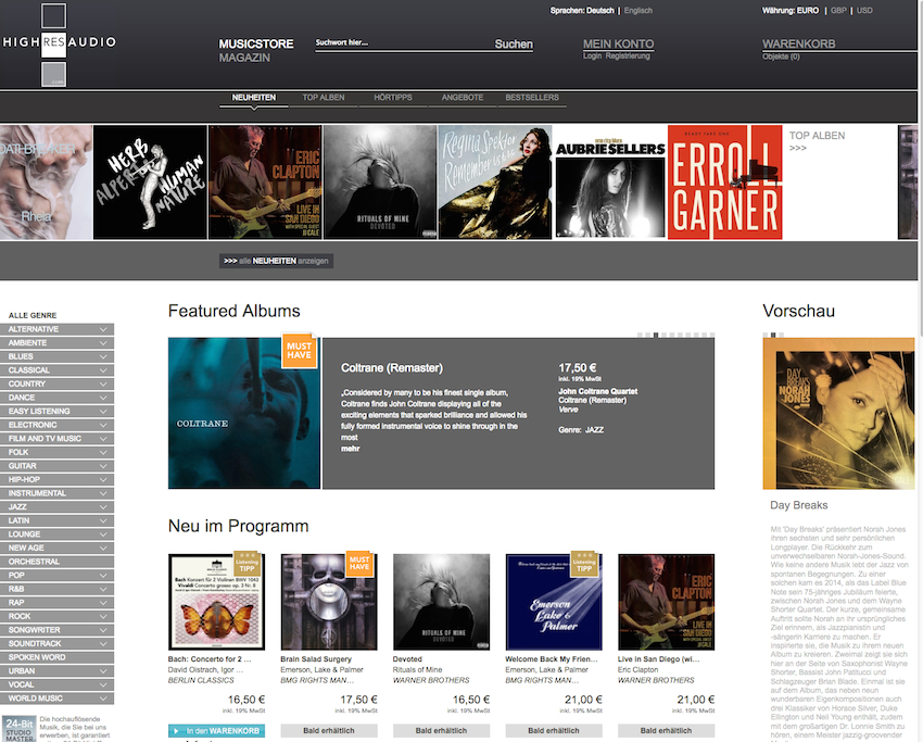 highresaudio.com ist eines der wichtigsten legalen Download-Portale, wenn es um den Erwerb hochaufgelöster Audiodateien geht.