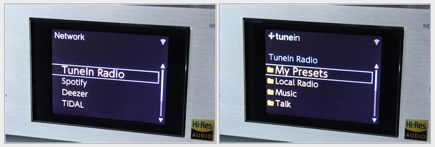 """Ist die Network-Taste gedrückt, genügt ein Klick auf """"tuneIn"""" und Sie können sich tausende von Radiosendern nach verschiedenen Kriterien sortieren lassen."""