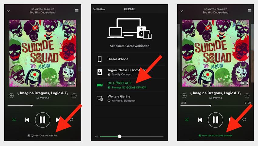 Drei schnell durchzuführende Schritte genügen um den NC-50DAB kabellos mit dem eigenen Spotify-Premium-Account zu verbinden.