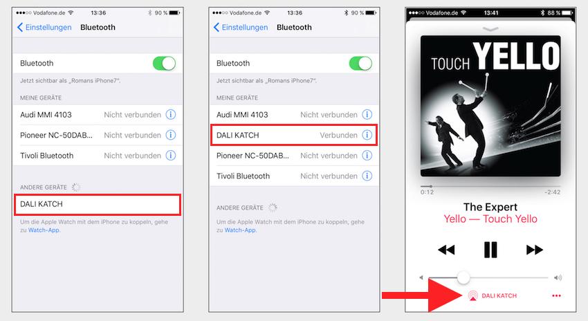 Schneller und einfacher geht es kaum. Ist die Bluetooth-Taste am KATCH gedrückt, gibt er sich auch schon in der Liste der verfügbaren Bluetooth-Empfänger zu erkennen. Ist er ausgewählt, kann die Musikwiedergabe auch schon beginnen.