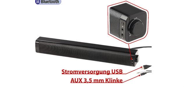 Pearl: auvisio PC-Stereo-Soundbar mit Bluetooth & AUX-In
