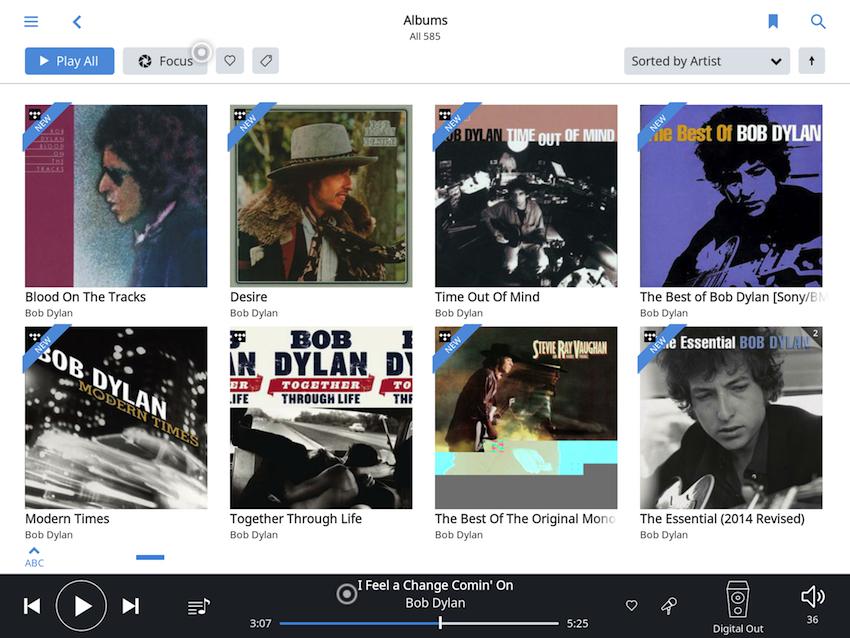 """Obwohl ich nur ein Bob-Dylan-Album besitze, werden mir weitere (bei Titan verfügbare) Dylan-Alben in meiner Musikbibliothek angeboten. Das kleine """"T"""" links oben verrät: hierbei handelt es sich um einen Tidal-Stream."""