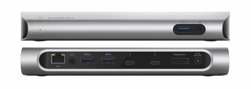 Zwei 4K-Video- oder ein 5K-Ausgang und 85 Watt Ausgangsleistung zum Laden von Notebooks über ein 0,5 m langes Thunderbolt 3 (USB-C) 40 GBit/s-Kabel