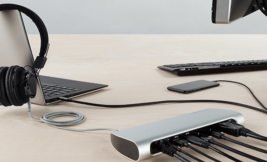 Das Thunderbolt 3 Express Dock HD kann an Geräte mit Thunderbolt 3 (USB-C)-Port angeschlossen werden