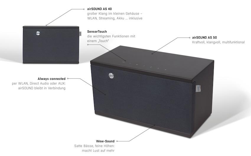 Saxx airSOUND AS 40/AS 50MultiRoom-, MultiSound-, MultiEinsatzmöglichkeitSaxx airSOUND AS 40Stück / €229,-Saxx airSOUND AS 50Stück / €299,-Bester Sound, für daheim und unterwegs. Saxx airSOUND AS 40 und AS 50überzeugen mit beeindruckendem Klangvolumen und edlem Finish.