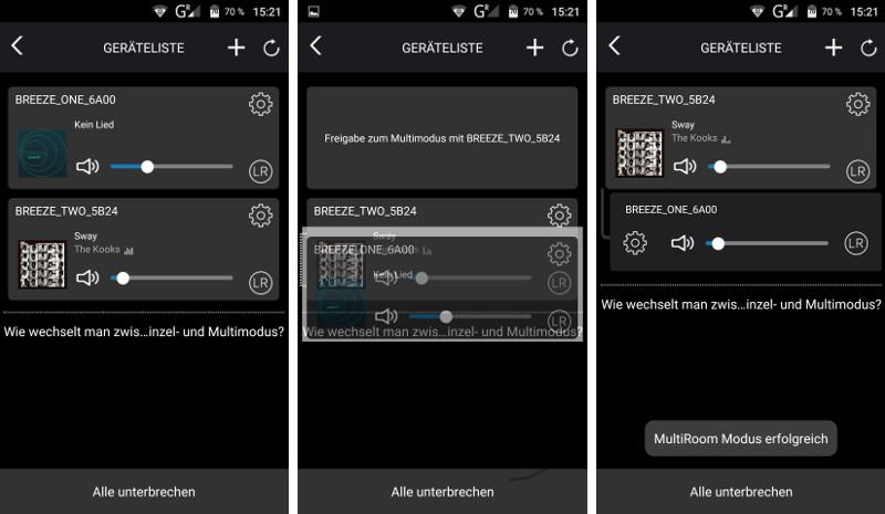 Mit der Breeze-App können die Lautsprecher ins WLAN integriert und miteinander verknüpft werden.
