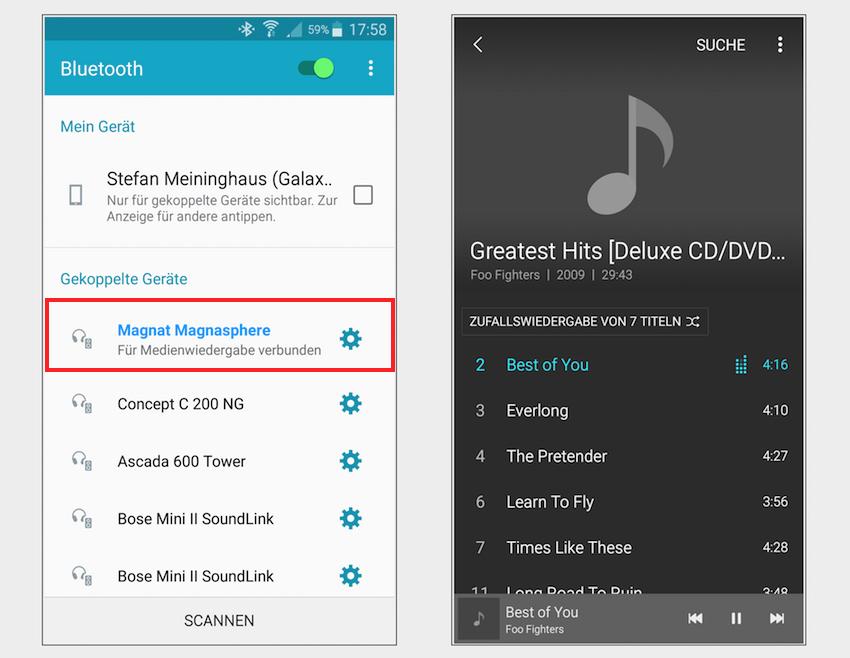 """Wählt man die Quelle """"Bluetooth"""" gibt sich das Magnasphere-System sogleich in der Liste verfügbarer BT-Empfänger zu erkennen."""