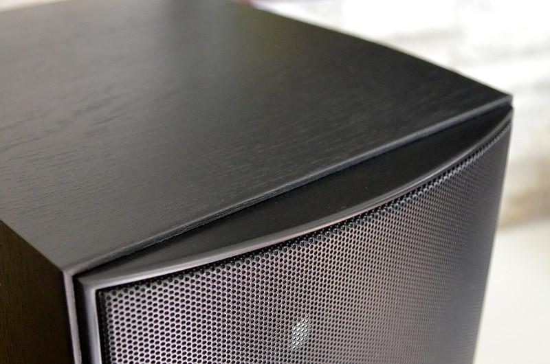 Feine Akzente wie die gewölbte Schallwand mit fest montiertem Schutzgitter lockern das klassische Grunddesign der Alpha B1 auf.