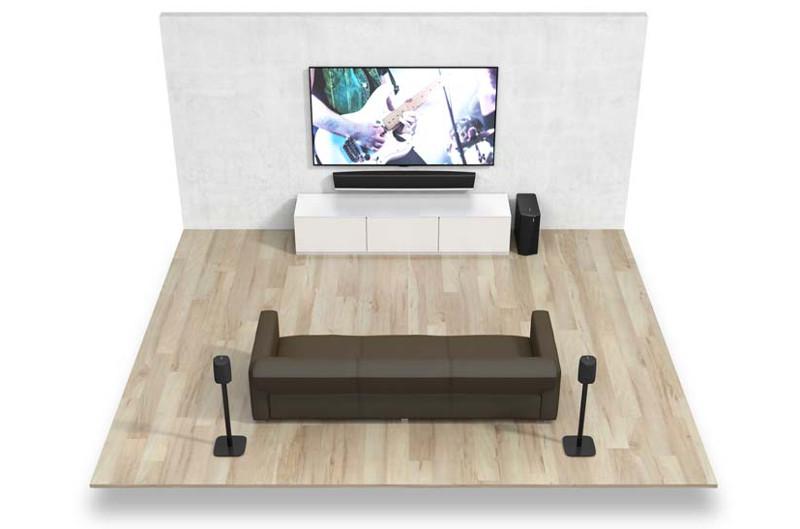 Dank GoPack können die als Surround-Lautsprecher eingesetzten Heos 1 völlig kabellos und frei im Raum platziert werden.