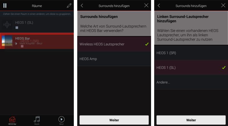 Via App lassen sich die beiden Heos 1 nach ihrer Einbindung ins WLAN den Surround-Kanälen zuordnen.