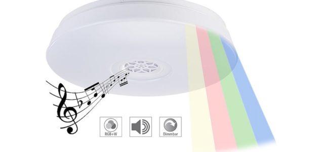 Pearl – Luminea RGBW-LED-Deckenleuchte mit Lichtwecker
