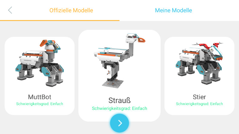 Für den Einstieg empfehlen sich die drei Beispiel-Roboter Schaf, Strauß oder Stief (v.l.).