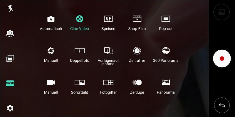 Das V30 ist mit umfangreichem Kamera-Segment ausgestattet - vor allem der Cine-Video-Modus dürfte für viele Hobby-Regisseure interessant sein.