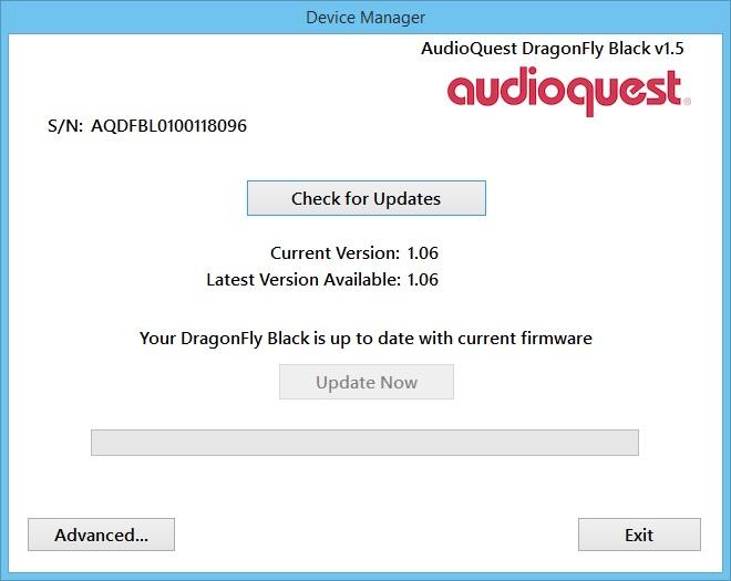 """Mit der kostenlosen Software """"AudioQuest Desktop Manager"""" können zukünftige Firmware-Updates ganz einfach auf den DragonFly Black übertragen werden."""