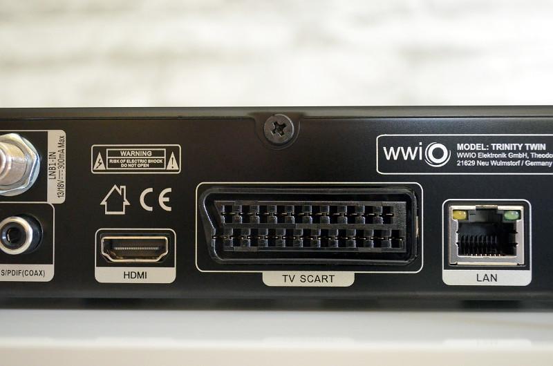 Für einen HD-Receiver ist der HDMI-Anschluss natürlich ein Muss. Der Trinity Twin bedient bei Bedarf aber auch Scart-Kabel.