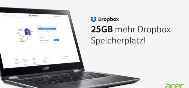 Acer Produkte kaufen und 25 GB Dropbox Speicher gratis dazubekommen