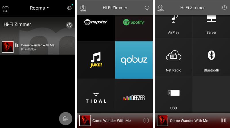 Die intuitiv zu handhabende Smartphone-App ermöglicht das Konfigurieren von Multiroom-Gruppierungen und die Wiedergabesteuerung samt umfangreicher Quellenwahl.