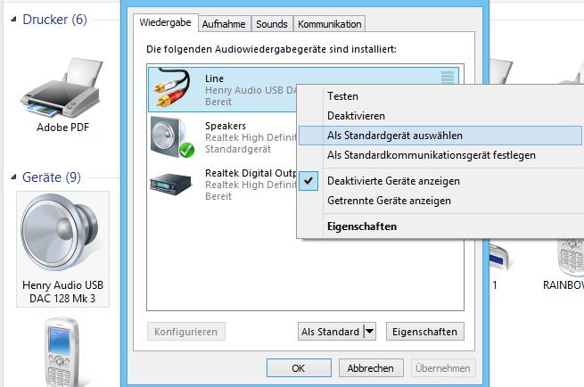 Je nach Betriebssystem (hier Windows 8) muss der Henry-Audio-DAC manuell als Wiedergabegerät festgelegt werden.