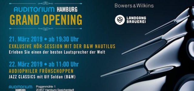 Auditorium Hamburg: Grand Opening mit B&W Nautilus und Jazz- Frühschoppen