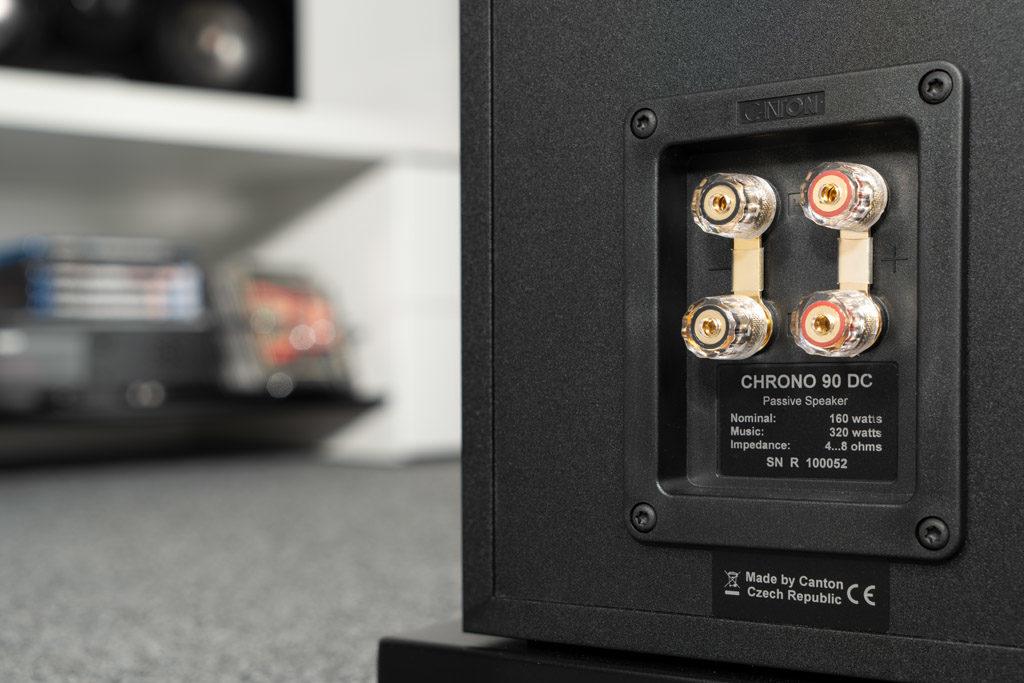 Die Anschlussterminals der Chrono-Lautsprecher sind hochwertig ausgeführt und im Falle der Chrono 90 DC sogar für Bi-Wiring geeignet.