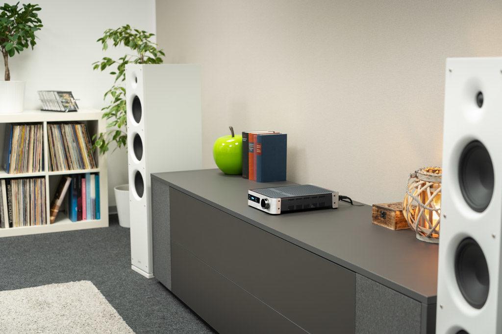 Der leistungsstarke DS-A101-G treibt auch größere Standboxen an.