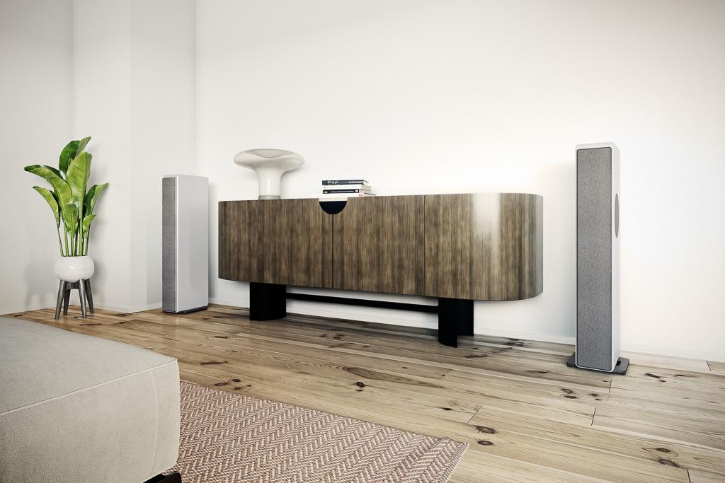 Je nach Tönung der Wände und Farbe der Schallwandler rundet die komplett die Front bekleidende Stoffabdeckung die Harmonie mit dem Wohnraum ab.(Herstellerfoto)